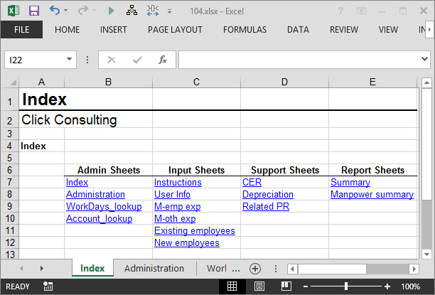 Create an Index Worksheet using Excel Hyperlinks | Excel ...