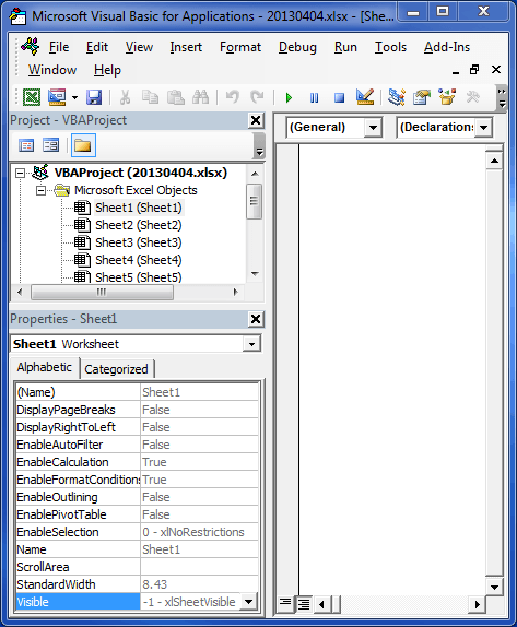 Excel Visual Basic Editor