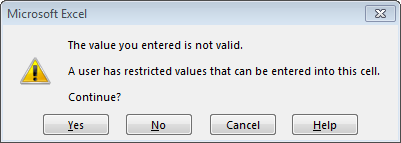 Data Validation Error Alert Style Warning