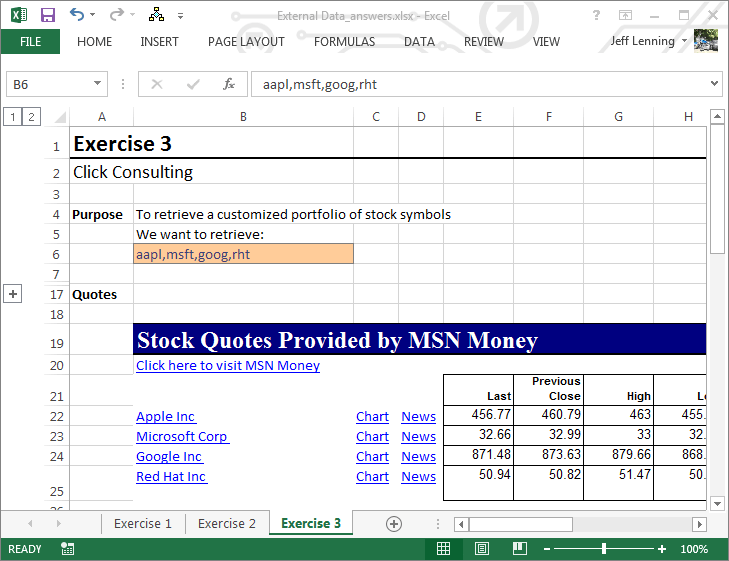 Msn Money Stock Quotes Msn Moneycentral Iqy Web Query  Excel University