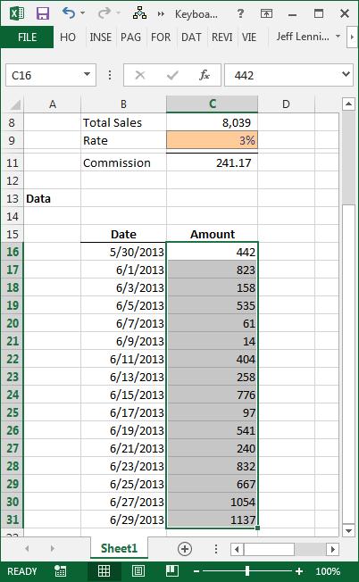 Excel Keyboard Precedent