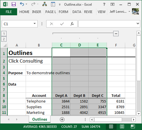 Excel Column Outline
