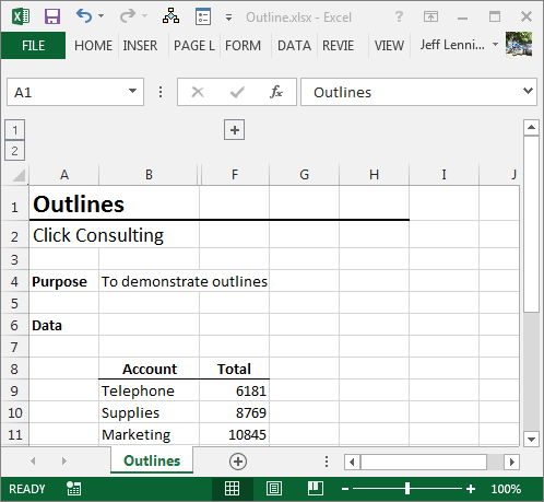 Excel Hidden Outline