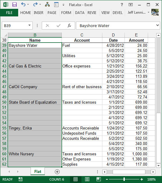 Excel Step 1 Select Column