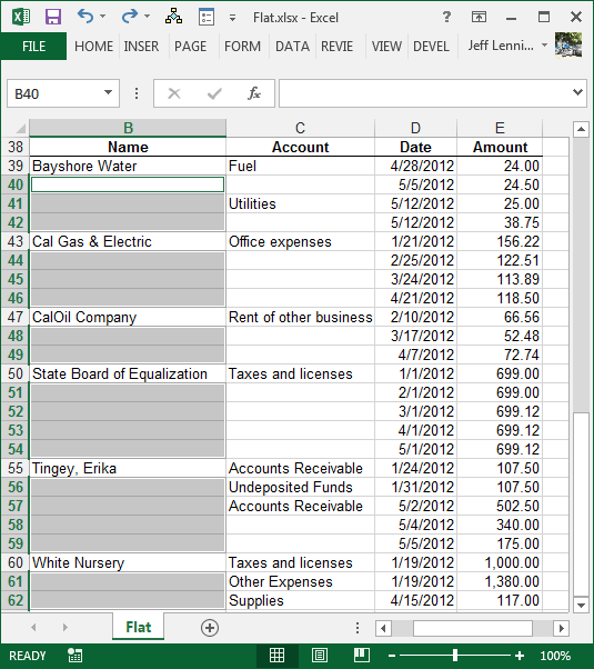 Blank Excel Cells Selected