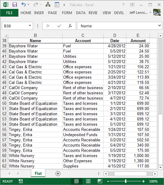 Excel Flat Data