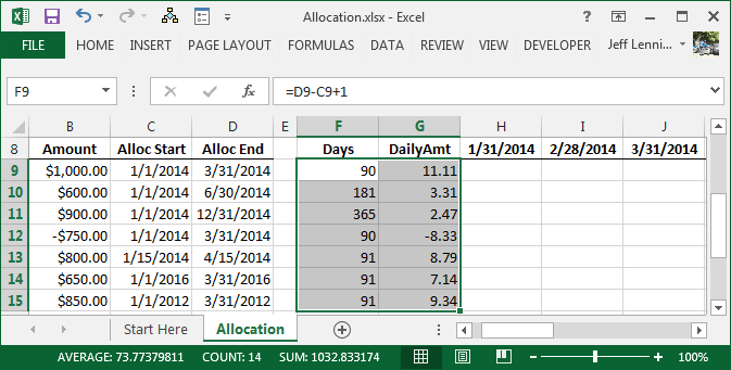 Excel Formula to Allocate an Amount into Monthly Columns