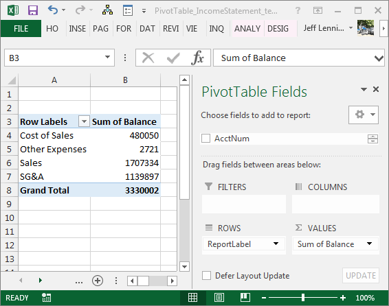 create an income statement with a pivottable excel university