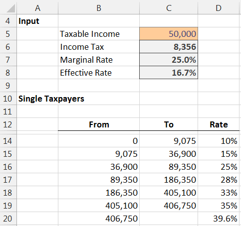 income tax formula excel university