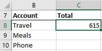 An excel screenshot of the formula result