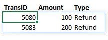 A screenshot of an excel worksheet filtered to show just the refund rows