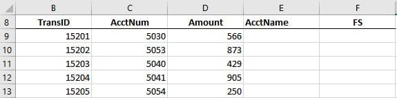 A screenshot of an excel worksheet with transactions that include account number and amount