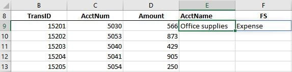 A screenshot of an excel worksheet with the xlookup function returning both the acctname and fs values