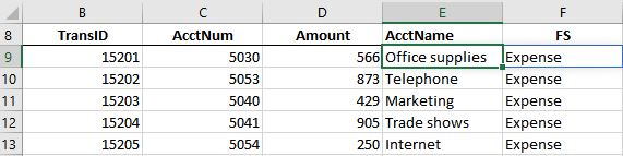 A screenshot of an excel worksheet that contains the acctname and fs for all rows (the xlookup formula was filled down)