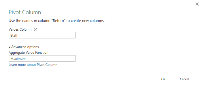 We Pivot the headers column, and select Max