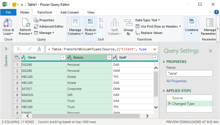 Power Query data source