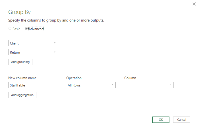 Group by command, similar to adding Client and Return into the PivotTable Rows layout area