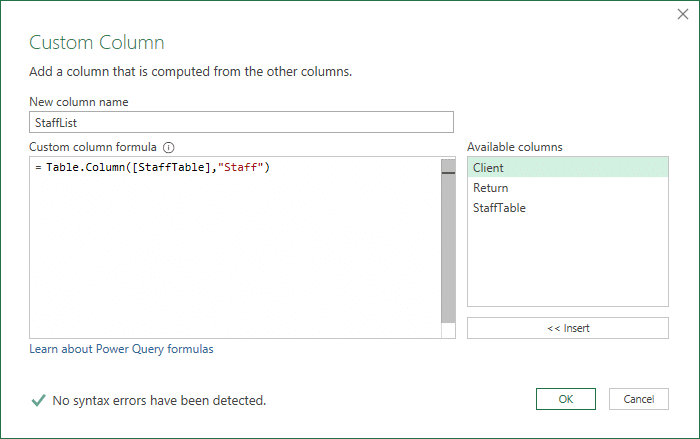 Custom function to create a list of text values