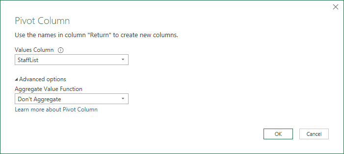 Pivot Column command, similar to placing Client in the PivotTable Rows layout area, Return in the PivotTable Columns layout area, and StaffList in the Values layout area