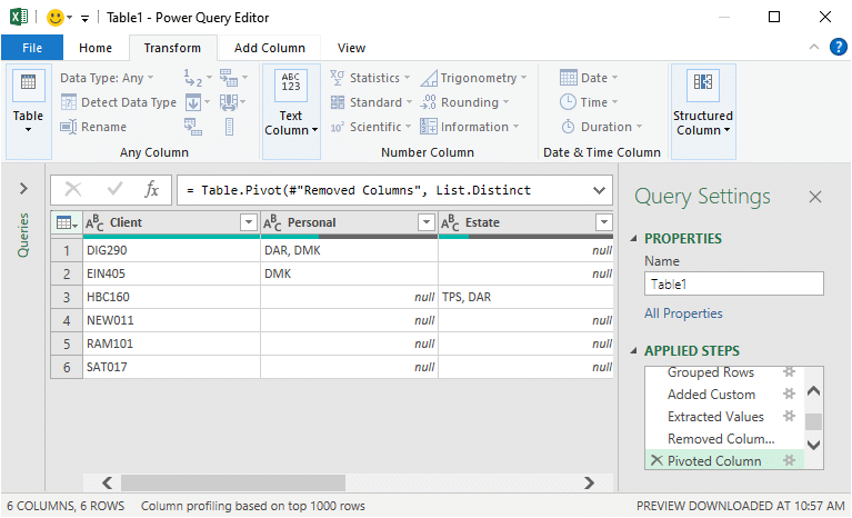 Power Query preview of the report (the alternative to a PivotTable)