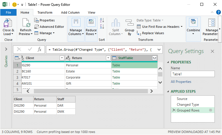 Display of table and resulting text values