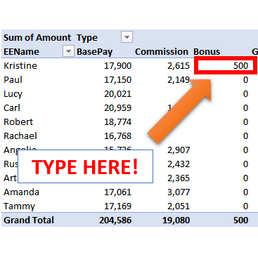 Edit PivotTable Values | Excel University