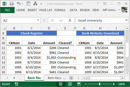 comparing spreadsheet lists with ease excel university
