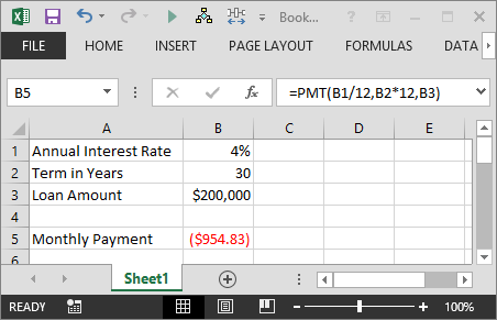 calculate the payment of a loan with the pmt function in excel